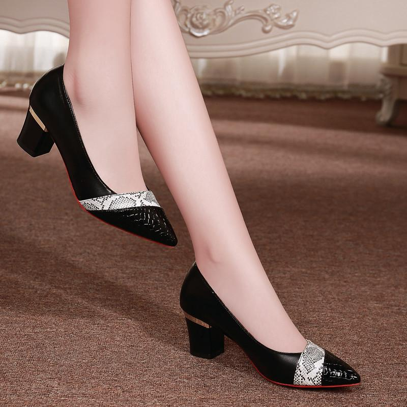 Zapatos de coincidencia de colores individuales de las mujeres 2020 del resorte nuevas de Corea del grueso tacón puntiagudo ocasional zapatos salvajes Tráfico trabajo de las mujeres