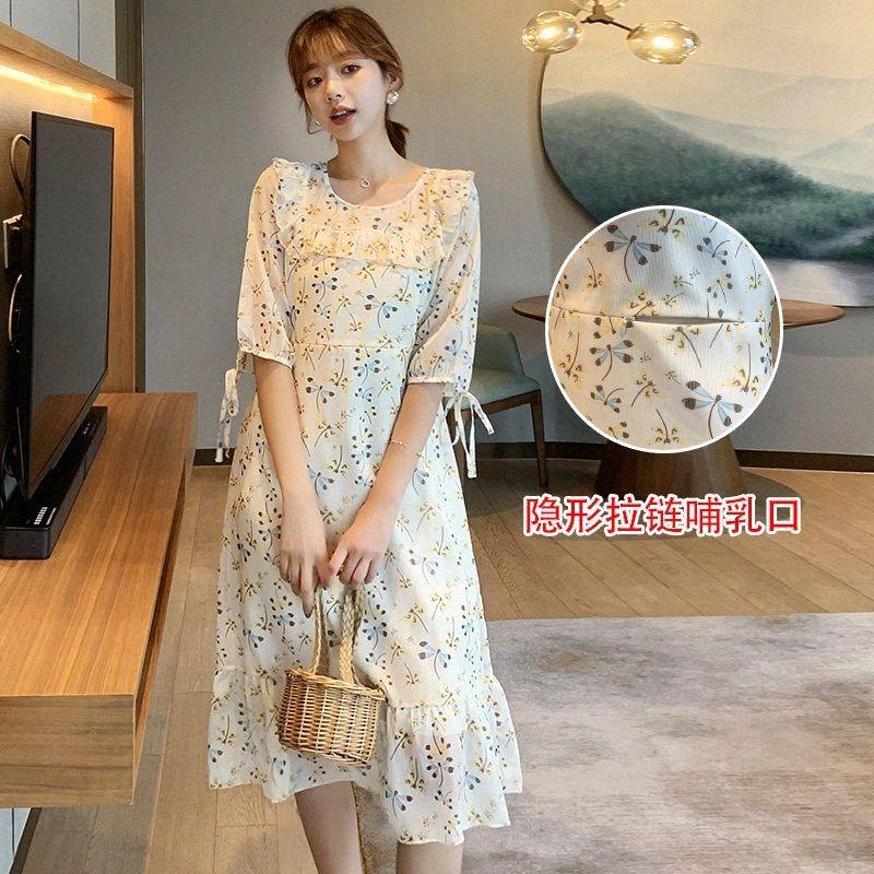 631 # verano coreano de la manera de maternidad de enfermería a largo vestido elegante ropa lactancia materna para mujeres embarazadas impresión de la gasa Embarazo BB8C #