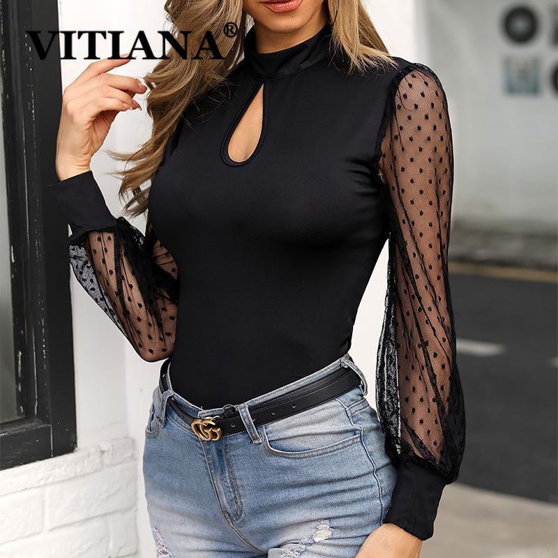 VITIANA с длинным рукавом Кружева Sexy Bodysuit Женщины Осень 2019 Женский Mesh выдалбливают Делопроизводство Bodysuits Femme Брюнет Rompers T200717