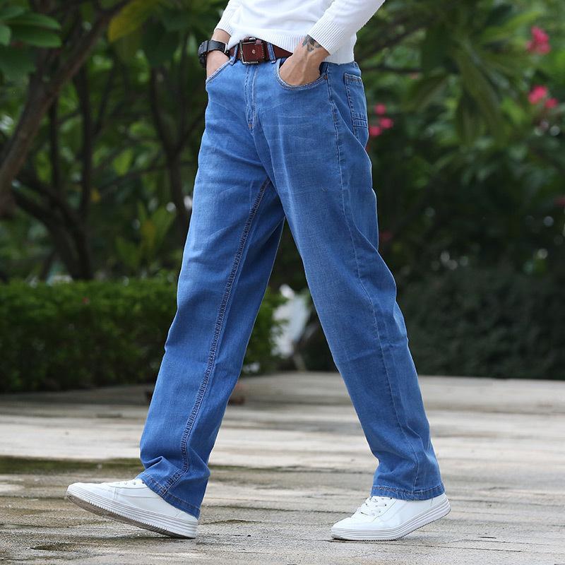 Nero jeans degli uomini blu Grandi Grandi Taglie 46 150KG Mens Jean alta elastico in vita Uomo allentati pantaloni diritti del denim dei pantaloni 7XL