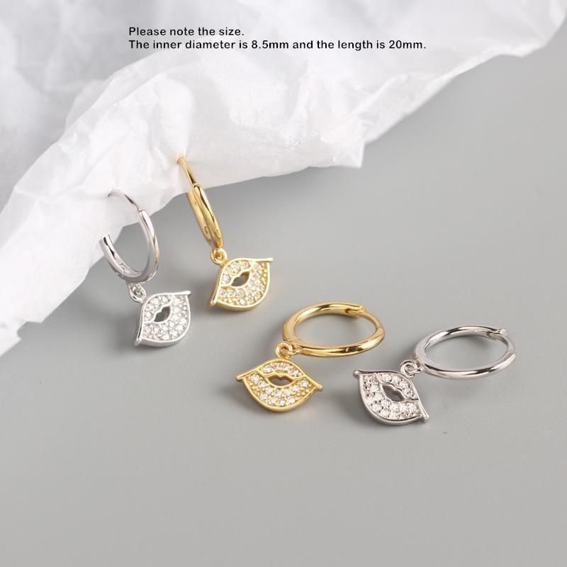 925 Gümüş Küpe Moda Kısa Zirkon Oyma Yıldız Dudak kolye Damla Küpe Kişilik Sevimli Trend Kadın Kız Kulak Jewe