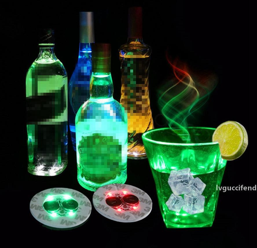 Led Bar Cup Coaster Light Up Cup Sticker For Drinks Cup Holder Light Wine Liquor Bottle Party Wedding Decoration Supplies props 6cm FFA3396