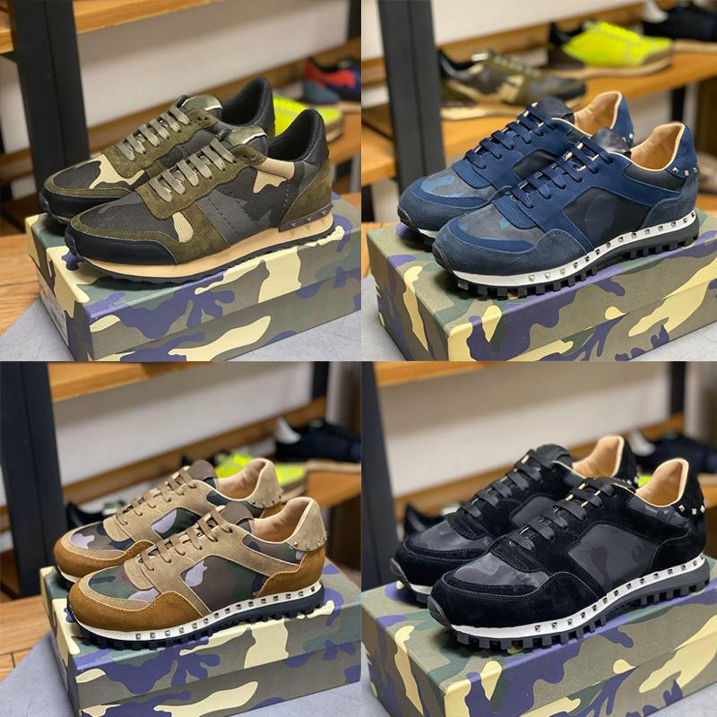 Top Quality Camouflage Sneaker Womens Mens Rebite Sapatos Studded Flats malha Camo Suede Casual Couro Trainers Rockrunner Sapatos Chaussures