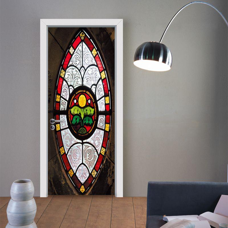 Novas 2pcs / set estilo muçulmano 3D DIY Porta Art Mural etiqueta auto-adesiva de PVC parede de madeira da porta adesivos Home Decor Wallpaper Poster