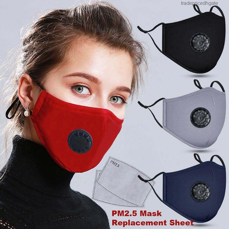Unisex Hot Gesicht Selling wiederverwendbare Baumwollmasken Atemventil PM2.5 Mund Anti-Staub Stoff waschbar Maske mit 2 Stück Filter