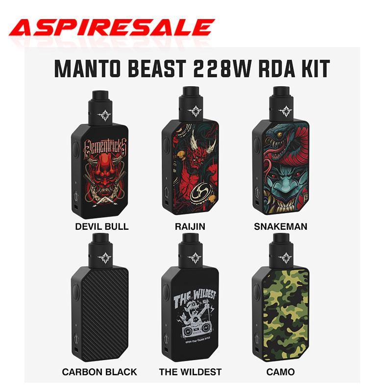 Authentique Kit de Rincoe Manto Beast 228w RDA avec Dual 18650 Cellules et Rincoe Metis RDA avec pointe goutte à goutte 810