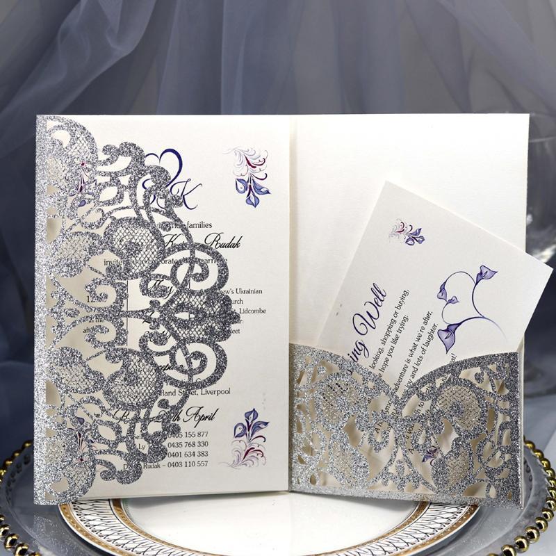 Cartão 10PCS bowknot Glitter Convites Estilo Europeu Laser Cut convites do casamento Cumprimento do feriado da caixa + cartão de interior * 2