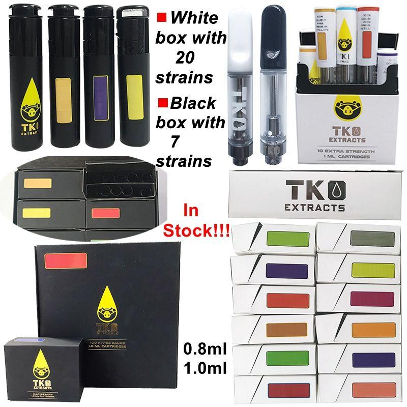 TKO Sauce Empty Vape Pen Cartridges Packaging 0.8ml 1ml Atomizers Ceramic 510 Thread Carts Thick Oil Dab Pens Wax Vaporizer Atomizer E Cigarettes
