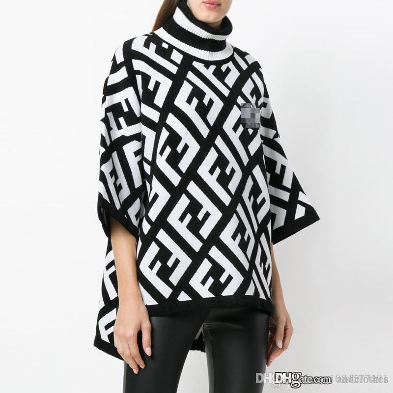 2020 Novo design blusas outono bloco de cor dupla carta de impressão gola das mulheres roupas de designer mulher manga comprida de malha de luxo