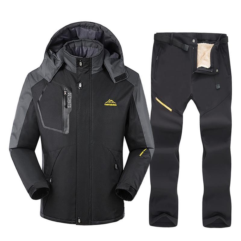 스키 재킷 스키 장비 정장 남자 겨울 야외 방풍 방수 따뜻한 눈 재킷 바지와 스노우 보드
