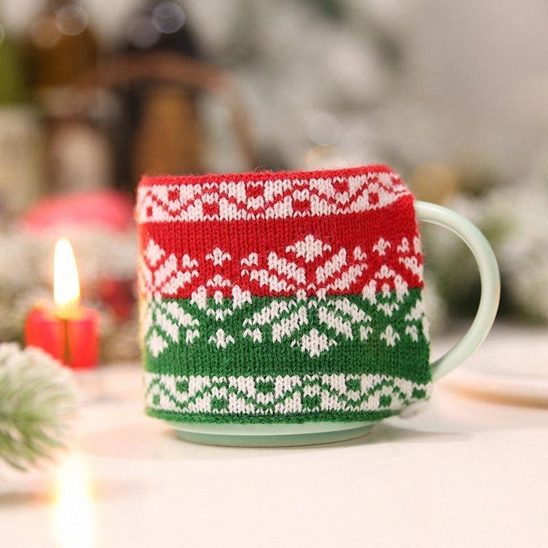 Cam Seramik Kupa yqNF için # 1 Adet Sıcak Noel Dekor Örme Yün Kupası Kapak dustcoat