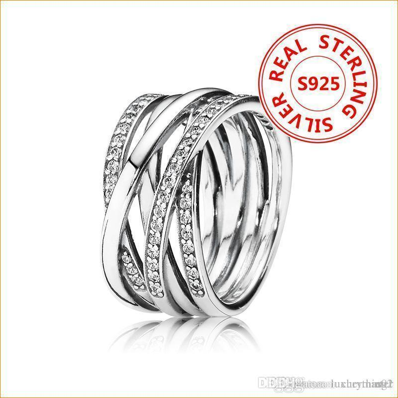 100% autentico argento 925 Intreccio ANELLO con scatola originale per il regalo di Anelli di nozze donne ciondolo Pandora