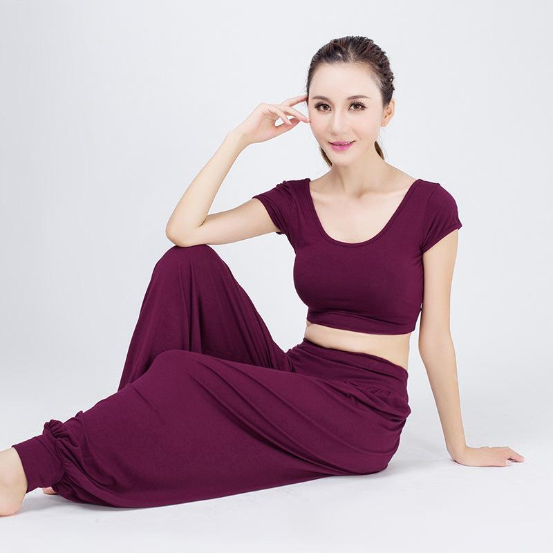 Yoga Giysileri Kadın Dans Performansı Giyim Exposed uyacak işlenmesi Navel Harem Pantolon Nefes Stretch Yoga Spor Suit