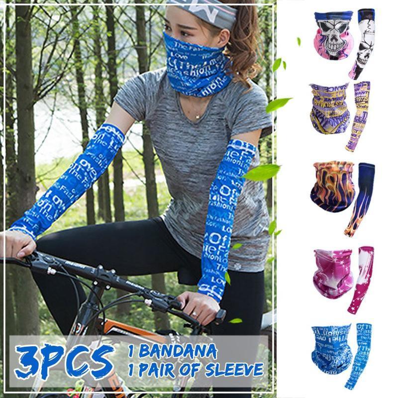 3PCS Sports de plein air Bras manches Sunscreen Bib Masque Visage Foulard triangulaire Combinaison Set équitation coupe-vent Sun Protection UV