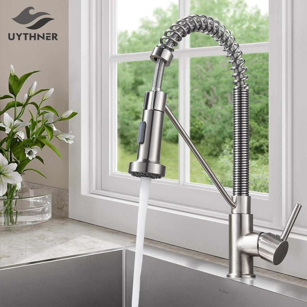 Chrome/ Black Style Kitchen Spring Faucet Pull Down Faucet Single Handle Water Mixer Tap 360 Rotation Kitchen Water Mixer Tap T200424