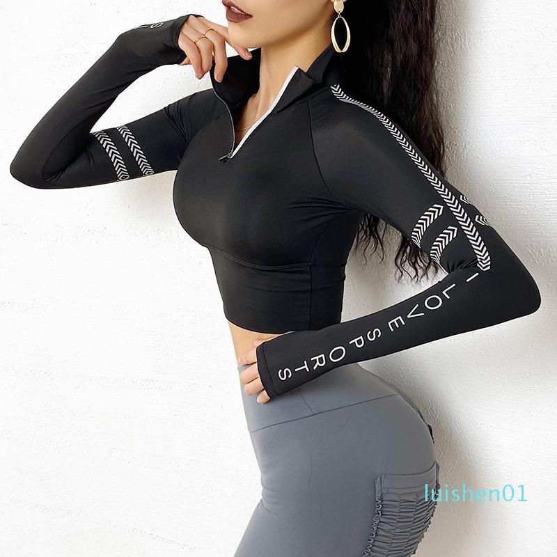 Reflexivo Hoodie Mulheres manga comprida Sports Sweater Com Tumb Buraco roupa da aptidão acolchoado Workout Jersey Zip Cortar com capuz l01