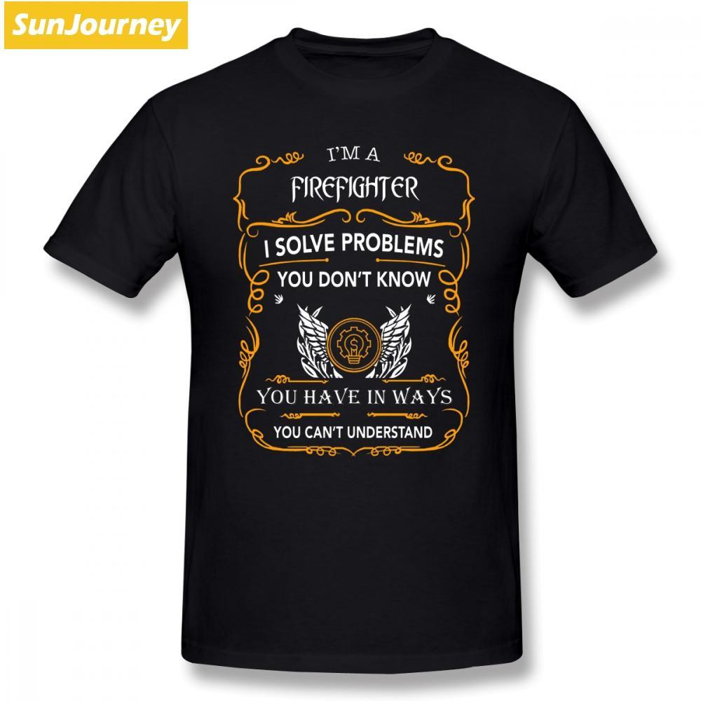 T Shirts Pompier Solve Le problème vous ne connaissez pas à manches courtes en coton O-neck Plus Size T-shirt pour adultes T-shirt pour homme