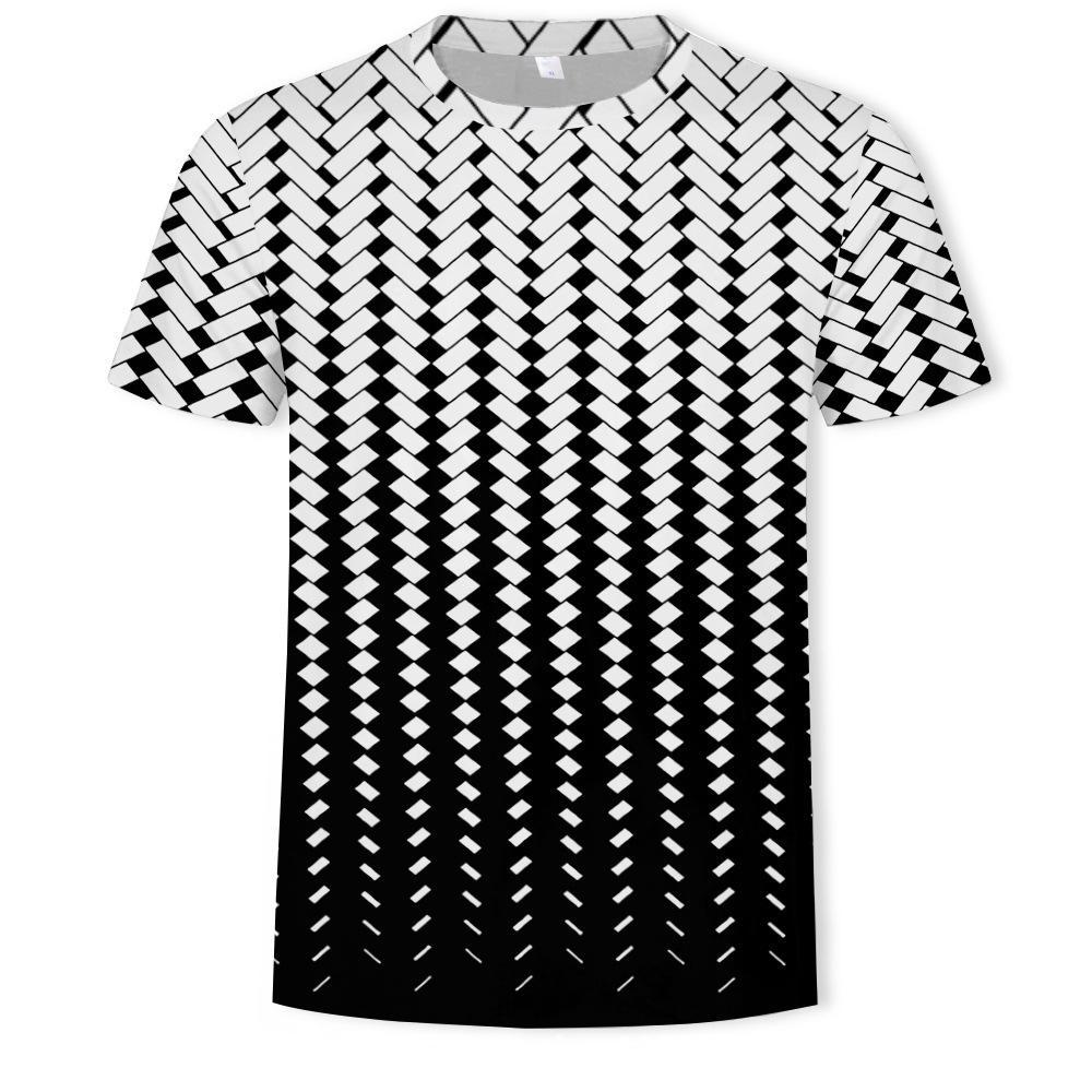 Mensblack et blanc lattices T-shirt imprimé à manches courtes col rond