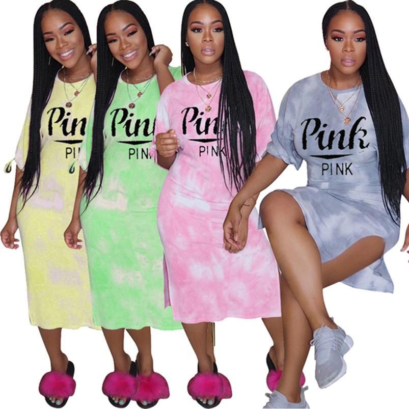Rosa donne vestiti di marca del progettista midi divisi vestiti estivi randello sexy vestito dalla matita abito elegante partito di festa Gradient beachwear di stampa 0280