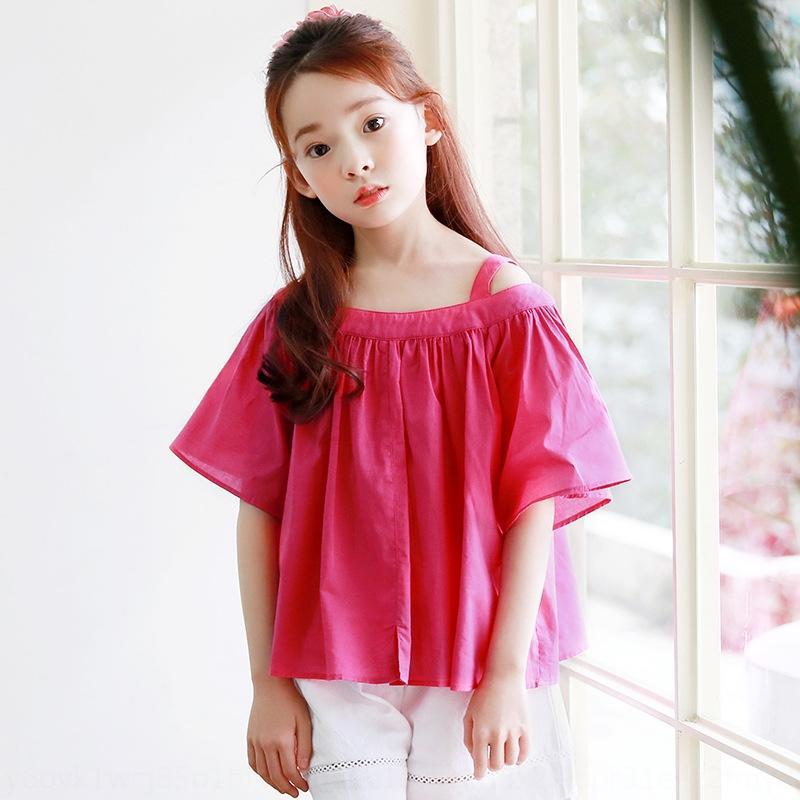 2019 Yeni Yaz Kore çocuklar off-omuz Coat tişört üst büyük üstüne kısa kollu t-shirt kız A422 içinde