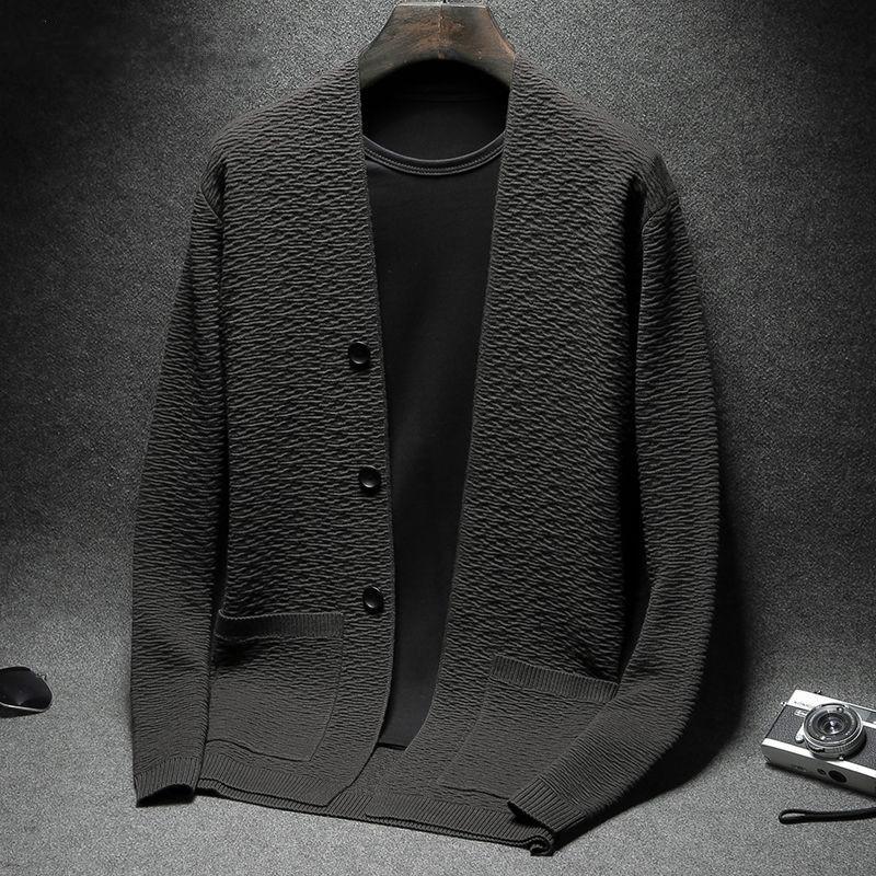 Cardigans Мужчины Теплый свитер с длинным рукавом V-образным вырезом Свитера Сыпучие Твердая Кнопка Топы Fit Вязание Повседневная Стиль одежды 3 цвета L20