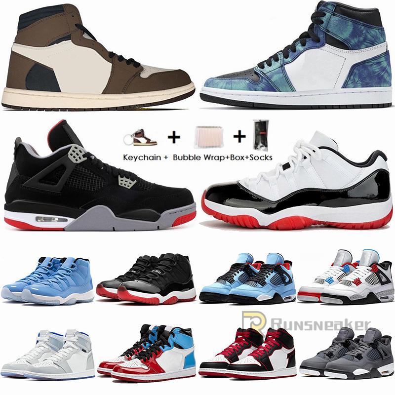 1 العليا ترافيس سكوتس 1S منخفضة الأسود تو أحذية كرة السلة التعادل صبغ UNC شيكاغو 4S صبار جاك رجل مدرب 11S 11 الابيض ولدت كونكورد حذاء رياضة