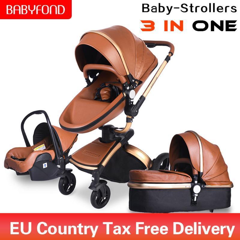 Kinderwagen # Babyfond 3 in 1 Luxus-Kinderwagen Zwei-Wege-faltbares Vierrad-Baby geborenes Pram-Leder Aluminiumlegierungsrahmen-Klappauto