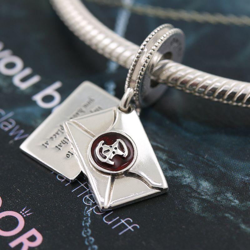 2020 Release S925 Sterling Silver Harry potter Hogwarts Acceptance Letter pendant Charm beads Fits European Pandora Bracelets Necklace