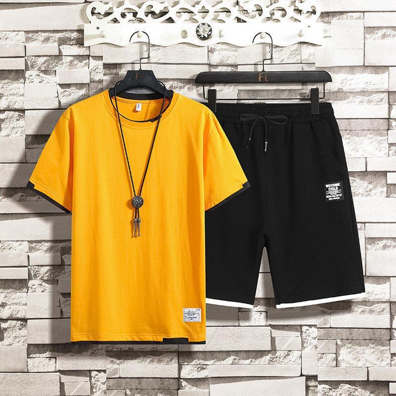 mens fatos de treino roupas Sweatsuit verão fresco Shortn gduydf7 mangas T-shirt Com Joggers Calças transporte rápido Suit Casual