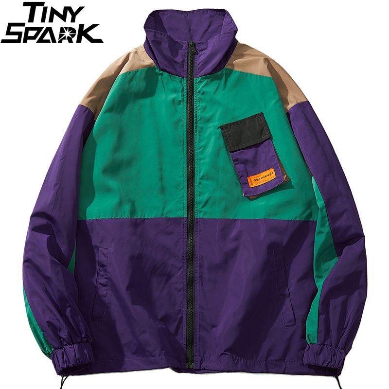 Men Hip Hop Streetwear Jacket Coat Retro Color Block Patchwork Harajuku Jacket Windbreaker Oversized Track Jacket Pocket Autumn CX200801