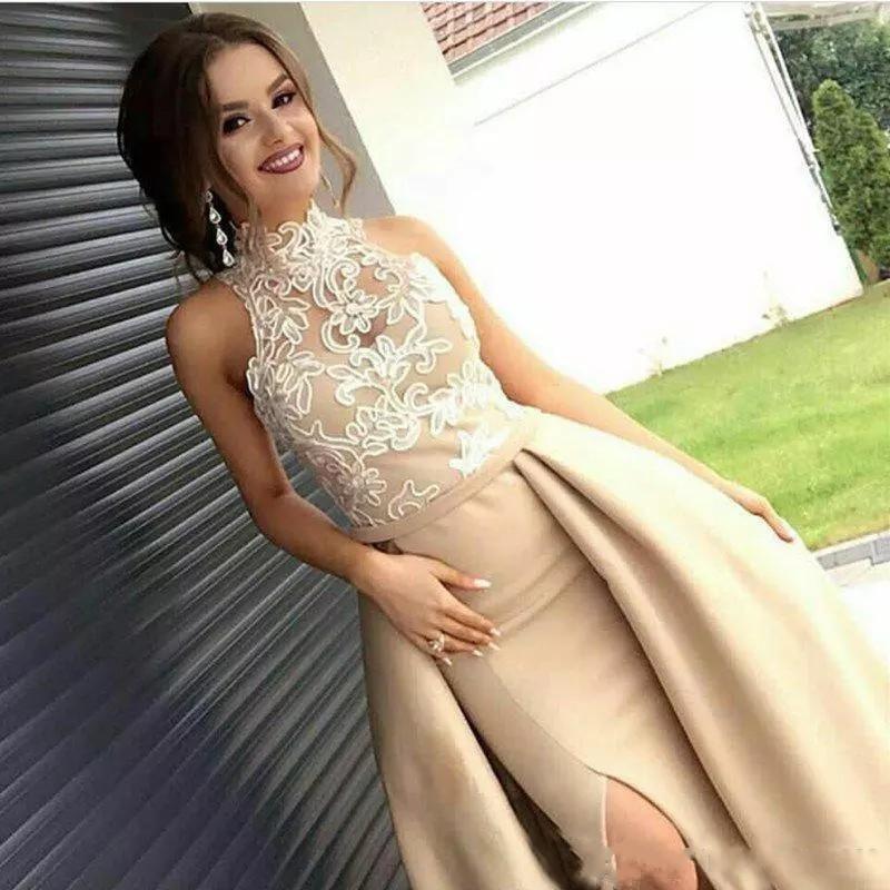 Dubai árabe Champagne Bainha Longo Prom Vestidos alta Neck Lace Applique Satin High Side Dividir Formal vestido de noite vestido com Overskirt