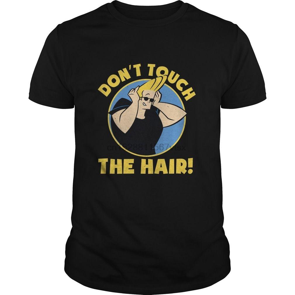Männer T-Shirt Kurzarm CN Johnny Bravo Do not Touch The Hair Badge-Grafik-T-Shirt kühle Frauen T-Shirt-T-Tops
