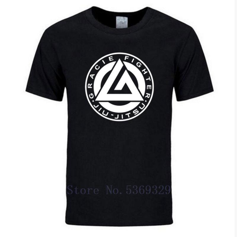 Novos homens Moda Verão Gracie Jiu Jitsu camisola Men Tops Homens de algodão ocasional Gracie lutador manga curta T-shirt Plus Size