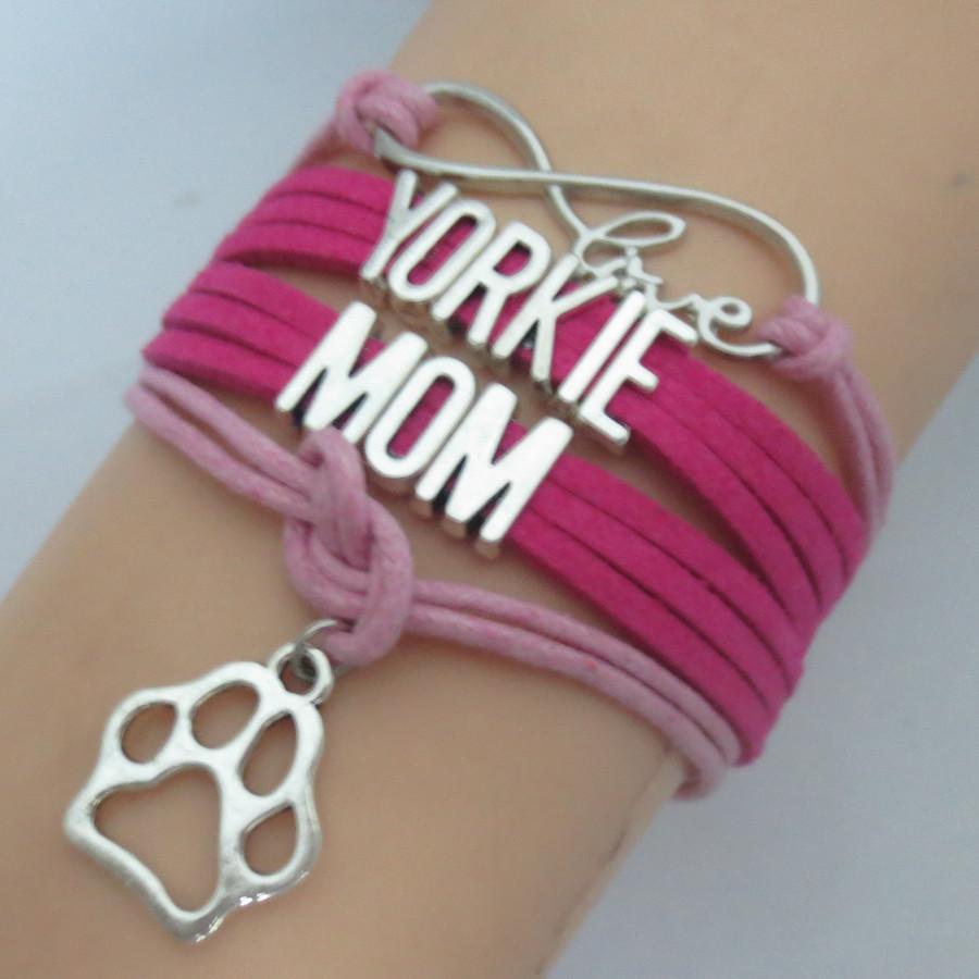 Joyería hecha a mano de cera perro de moda de las rosas fuertes personalizada Palabra de Yorkie Mama Con la pata de la pulsera de encanto del amor infinito O perrito del gato