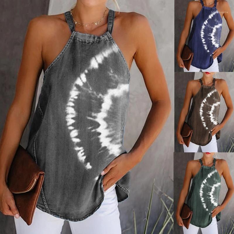 Giyim Yaz Kadın Tasarımcı Artı boyutu 5XLTshirt Halter Batik Kontrast Renk Kasetli Seksi Bayanlar Tops