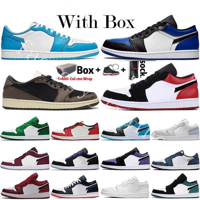 2020 새로운 도착 낮은 OG Jumpman 1 초 여성 남성 농구 신발 디자이너 트래비스 스콧 UNC 파리 블랙 발가락 시카고 트레이너 스포츠 스니커즈