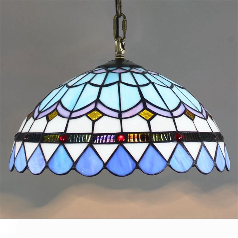 Avrupa Modern yaratıcı cam lamba Tiffany cam Akdeniz basit restoran avize yatak odası balkon koridor lamba TF070 lekeli
