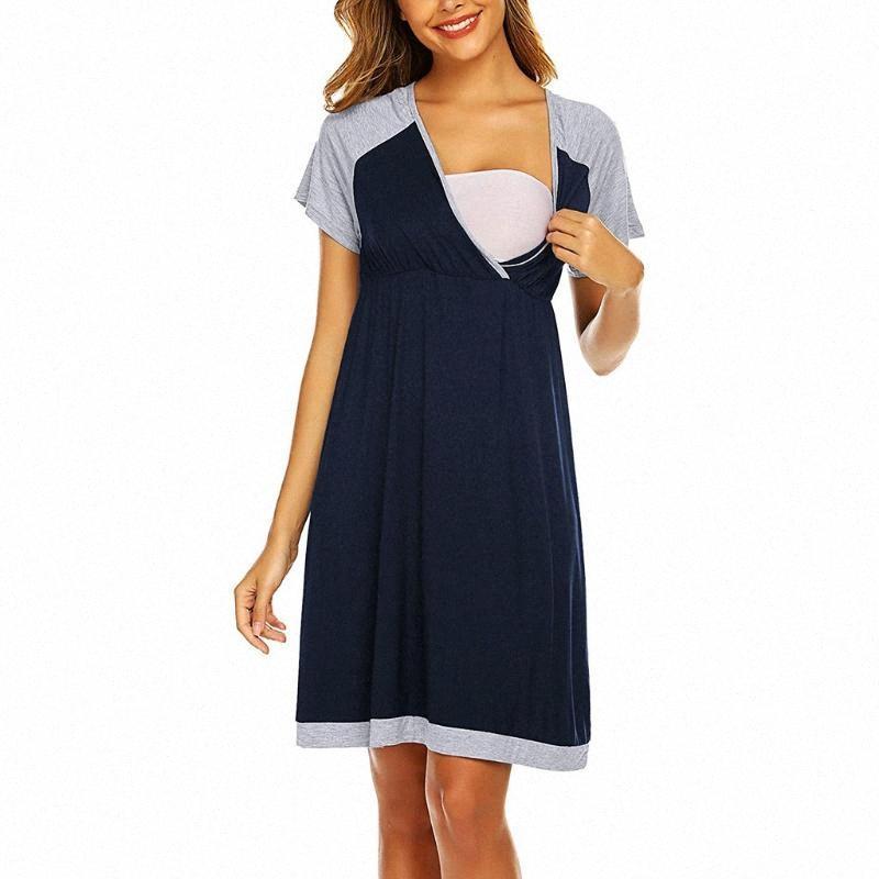 Mode Umstands Kurzarm Baumwolle Mischungen Nursing Damen schwangere Frauen nähen Farbe Baby-Nachthemd Stillen Kleider Lein #