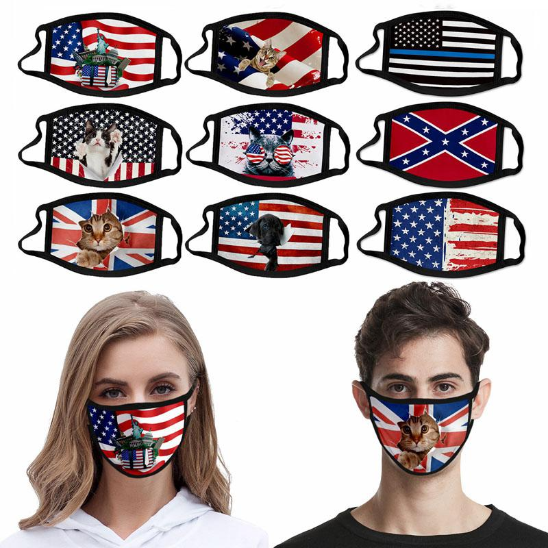 2020 Amerikan Bayrağı Yüz Maskesi Yıkanabilir Yeniden kullanılabilir Buz İpek Baskılı Mississippi Bayrak Amerikan Bağımsızlık Günü Karşıtı Toz Maskesi HHA1473 Maske