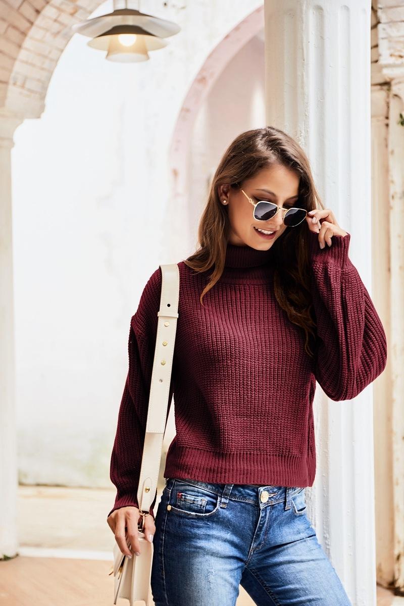 Conception à col roulé à long automne manches design Pull col roulé de femmes d'automne manches longues tricoté femmes chandail tricoté