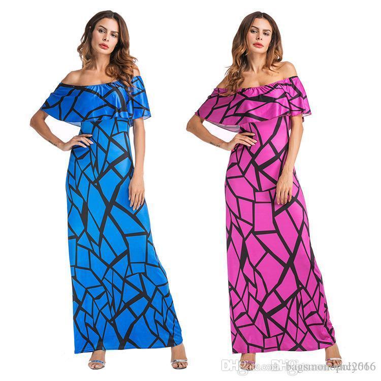 Kadınlar elbise Yaz Seksi Boyun Sling Yelek Kolsuz Elegant Lady Dijital Ekose Etek Casual BODYCON Uzun Elbise Boyut S-XL D7 yazdır Slash