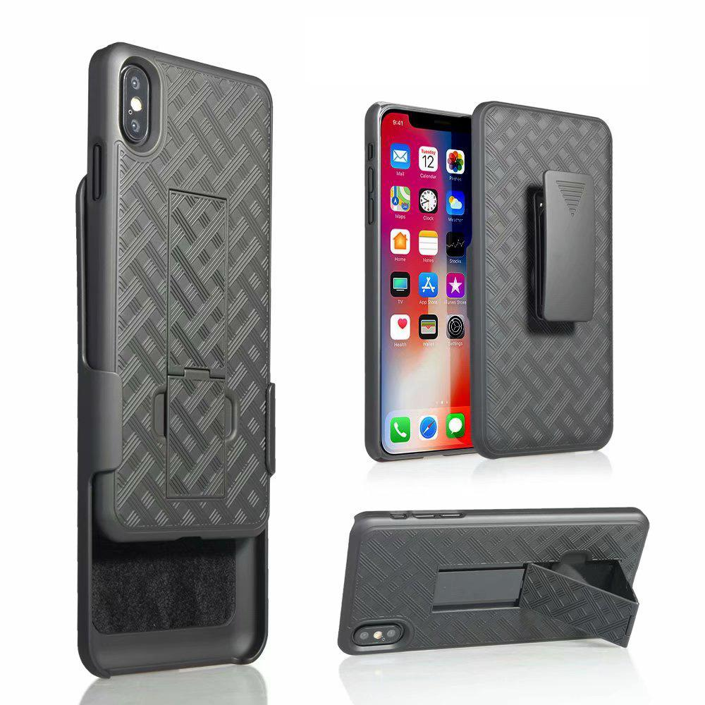 Tejido 2 en 1 híbrido de Shell duro pistolera combinada Caso pata de cabra clip de la correa para el iPhone 11 MAX Pro XS XR X 7 8 Plus SE 2020 Samsung Nota 10 + S10