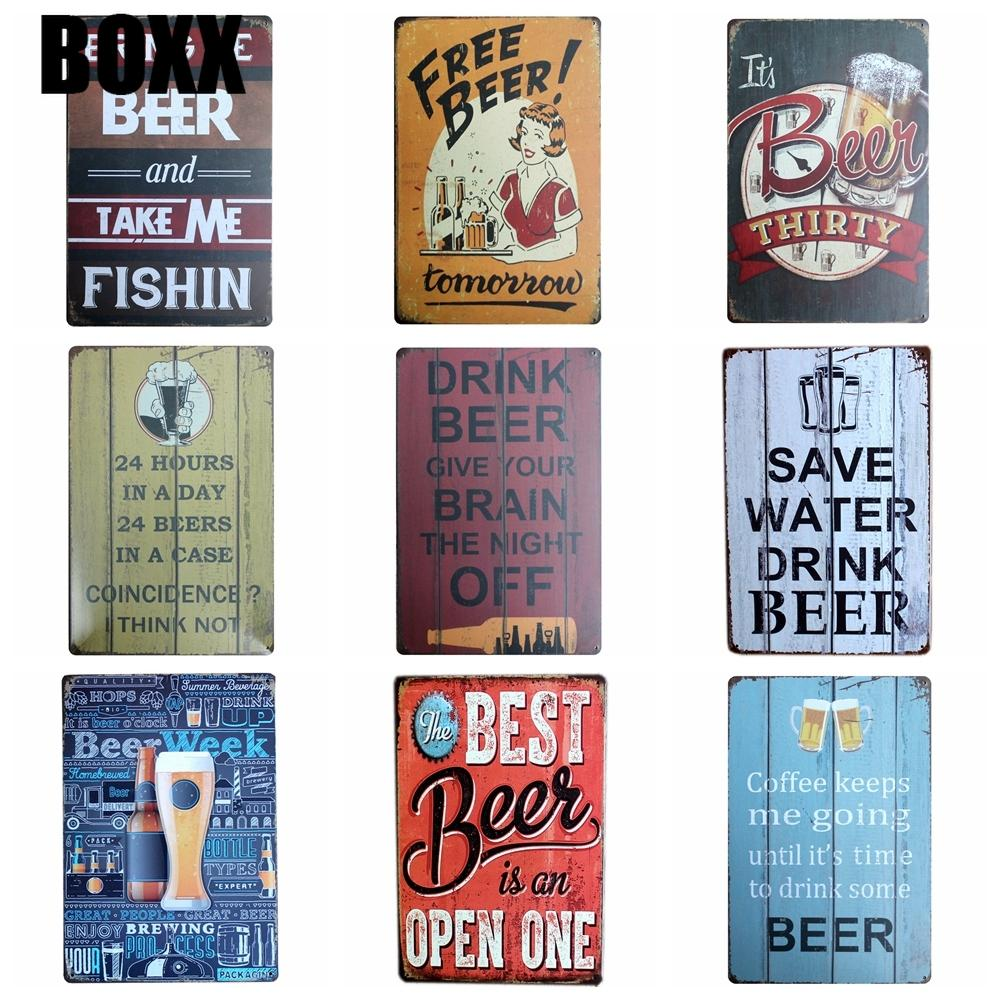BEER Metal Plaque Bar Cafe House Wall Signs Painting Craft 20*30 CM Size