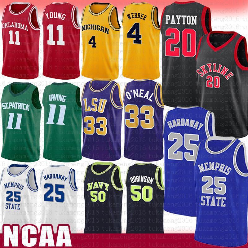 جامعة LSU شاكيل اونيل 32 النمر كلية NCAA كرة السلة جيرسي ديفيد روبنسون 50 Anfernee 25 هارداواي الدولة الفانيلة
