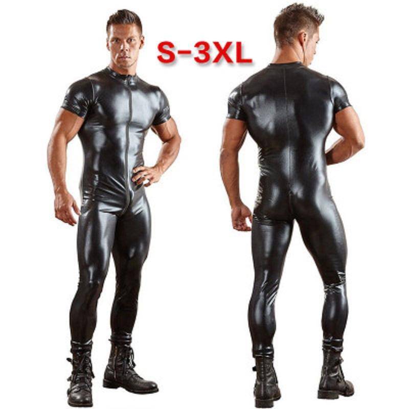Mens Patent Leather Short Sleeves Bodysuit Double Zipper Head Open Crotch Men Gay Club Leotard Motorcycle Coveralls Stage Outfit