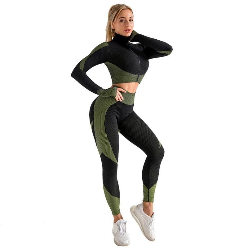 Yoga Outfits Nahtlose Set Weibliche Langärmeln Jacken Full-Zip Lightweight Track Jacket Sportswear Trainingsgymnitorie Kleidung