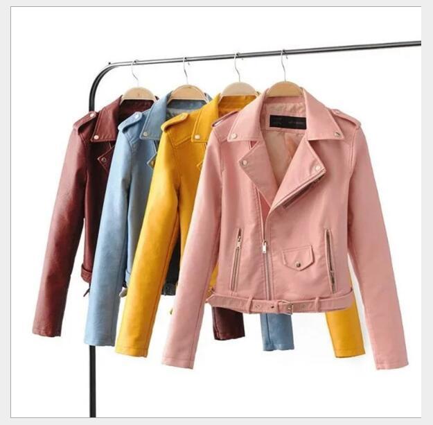 in pelle bavero della giacca con cerniera giacca delle donne di modo manicotto di alta qualità a lungo Primavera Autunno dwinter nuovo cappotto tuta sportiva parka