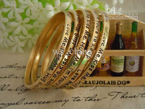 NEW!Vintage Alloy Gold Plating Monogram Bangle Bracelets Initial Love Charm Cuff Bangle With Words For Couple Free shipping