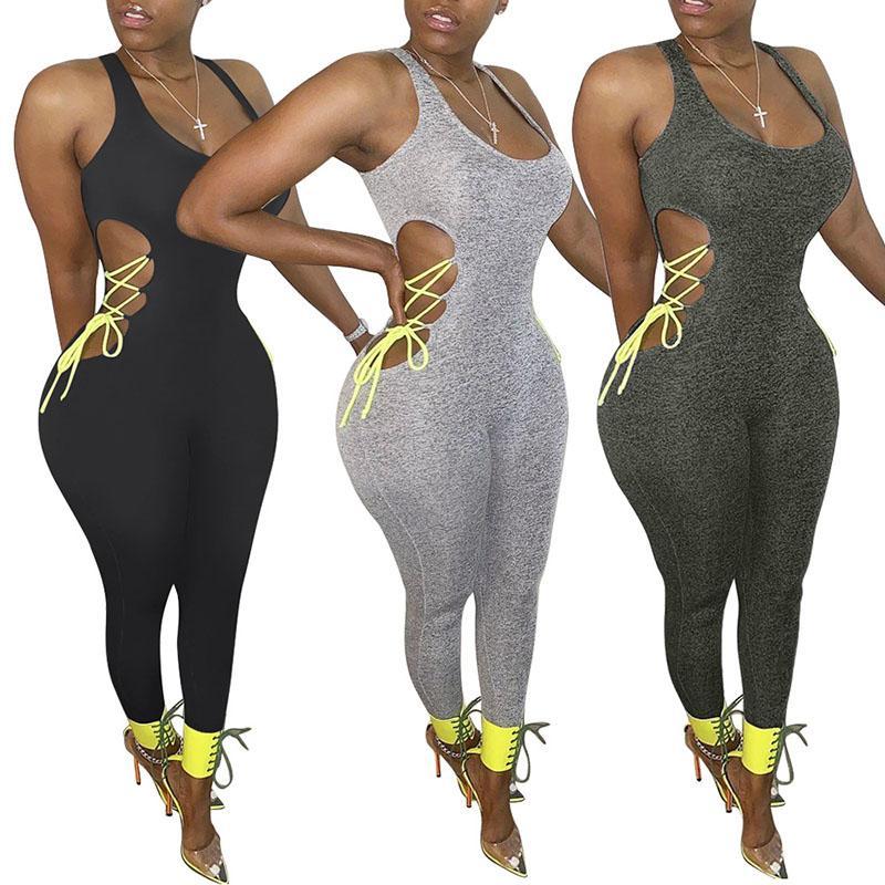 여성용 jumpsuits out bodysuit 민소매 요가 rompers bodycon 숙 녀 운동복 섹시한 jumpsuit 패션 playsuit 050714