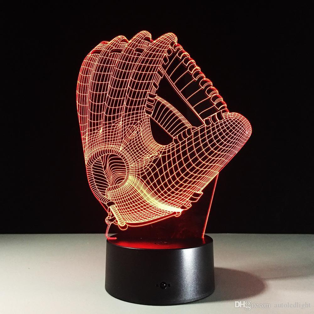 3D Baseball Gloves Visual Night Light Acrylic 3D LED USB 7 Color Change LED Table Lamp Xmas